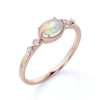 1.5 Carat Natural Vintage Milgrain Set Oval Australian Opal and Diamond 6 Prong Engagement Ring in Rose Gold