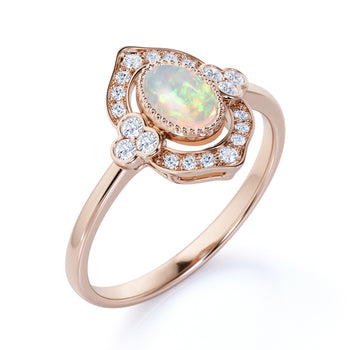 2 Carat Natural Art Deco Oval Australian Opal and Diamond Vintage Halo Engagement Ring in Rose Gold
