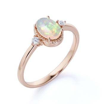 1.50 Carat Natural Vintage Oval Blue Fire Opal and Diamond Milgrain 3 Stone Engagement Ring in Rose Gold