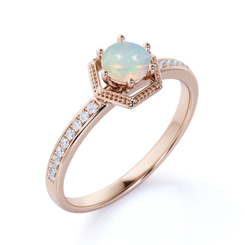 1.50 Carat Natural Basket Set Round Fire Opal with Diamond Accents Halo Engagement Ring in Rose Gold