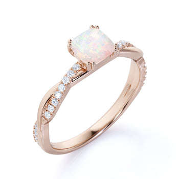 1.5 Carat Natural Cushion Rainbow Opal and Pave Diamond Twist Engagement Ring in Rose Gold
