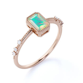 Unique 1.5 Carat Genuine Emerald Cut Australian Opal and Diamond Milgrain Engagement Ring in Rose Gold