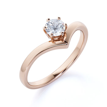 Vintage 6 Prong .33 Carat Round Cut Moissanite Solitaire Chevron Engagement Ring in Rose Gold