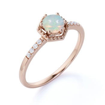 1.5 Carat Genuine Basket Set Round Blue Fire Opal and Pave Diamond Halo Engagement Ring in Rose Gold