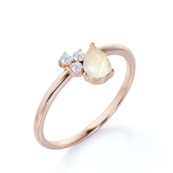 1.5 Carat Real Pear Shaped Fire Opal and Diamond Accents Cluster Engagement Ring in Rose Gold
