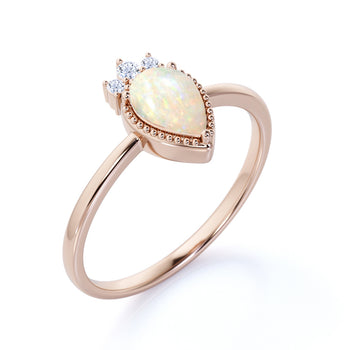 1.25 Carat Genuine Elegant Pear Shaped Blue Fire Opal and Diamond Crown Engagement Ring in Rose Gold