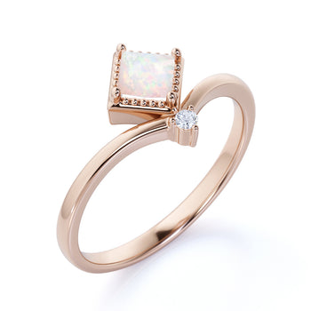 Unique 1.5 Carat Genuine Princess Cut Fire Opal and Diamond Duo Chevron Engagement Ring in Rose Gold