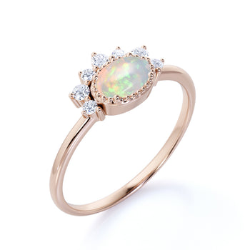 1.5 Carat Real Vintage Oval Cut Australian Opal and Diamond Accents Cluster Engagement Ring in Rose Gold