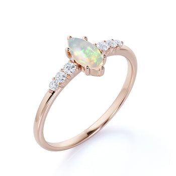 Elegant 1.5 Carat Real Vintage Marquise Cut Blue Fire Opal and Pave Diamond Accents Engagement Ring in Rose Gold