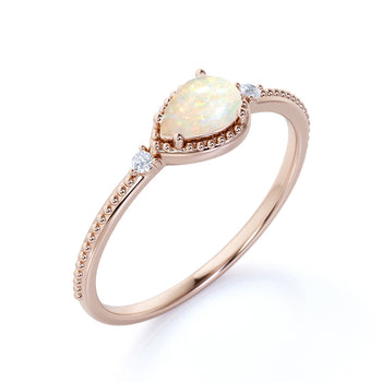 Milgrain Set Pear Shaped Australian Opal and Diamond Accents 3 Stone Engagement Ring in Rose Gold