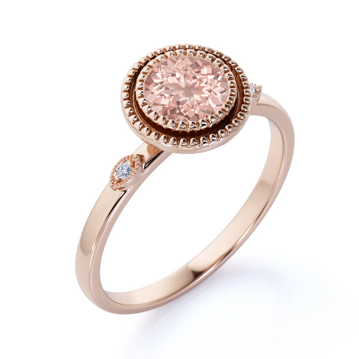 1.25 Carat Bezel Set Pink Morganite and Diamond Three Stone Milgrain Halo Engagement Ring in Rose Gold