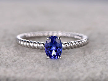 1 Carat Oval Cut Tanzanite Braided Band Engagement Rings in White Gold
