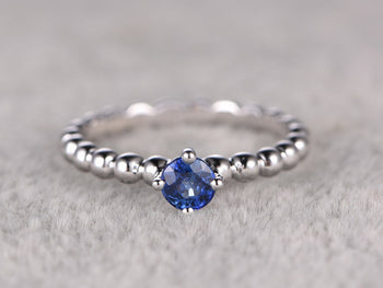 1 Carat Solitaire Round Cut Tanzanite Unique Band Engagement Rings in White Gold