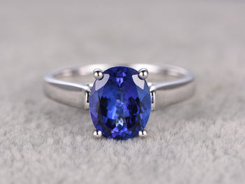 1 Carat Oval Cut Tanzanite Solitaire Ball Prong Engagement in White Gold