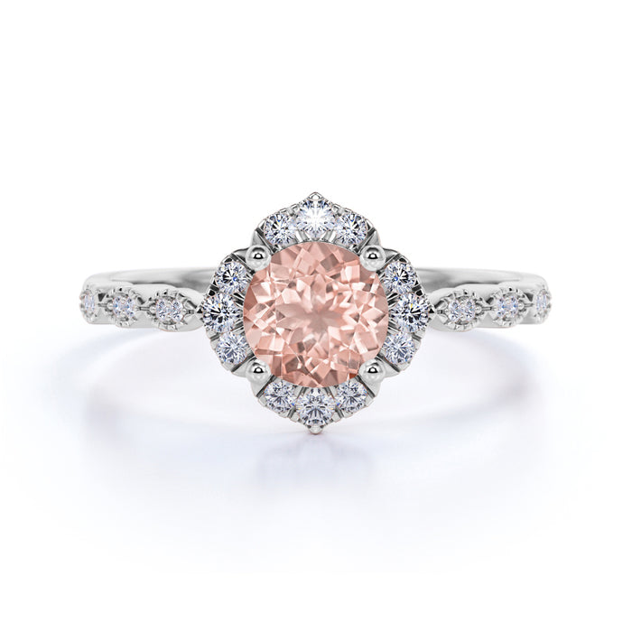 Antique 1.50 Carat Round Cut Peach Pink Morganite and Diamond Vintage Halo Engagement Ring in Rose Gold