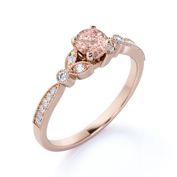 Vintage 1 Carat Round Cut Morganite and Pave Diamond Milgrain Flower Engagement Ring in Rose Gold