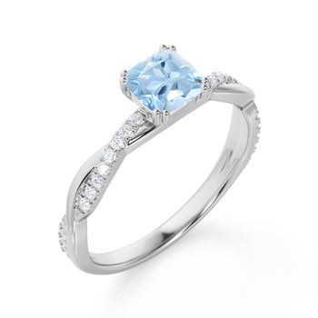 1.50 Carat Cushion Cut Aquamarine & Diamond March Birthstone Infinity Engagement Ring in White Gold