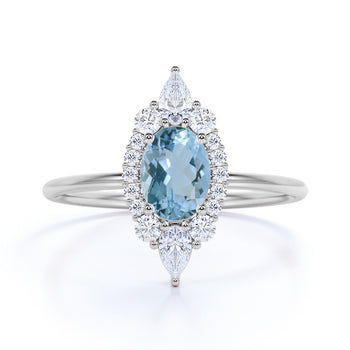 0.85 ct Antique Halo Set Oval Cut Aquamarine Promise Ring in White Gold