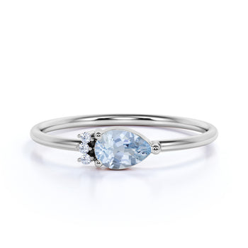 Pear Cut Aquamarine and  Diamonds Promise Ring in White Gold