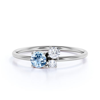 Round Cut Aquamarine and  Diamond Trio Stacking Ring in White Gold