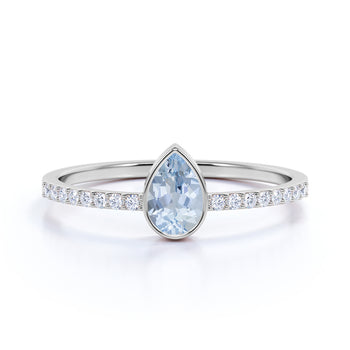 Pear Cut Aquamarine and Pave set Diamonds Promise Ring in White Gold