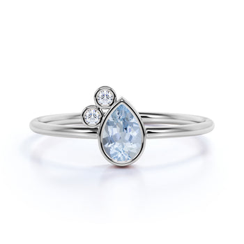Unique Bezel Set Pear Cut Aquamarine and Diamond Stacking Ring in White Gold