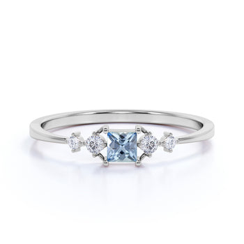4 Stone Princess Cut Aquamarine and  White Diamond Promise Ring in White Gold