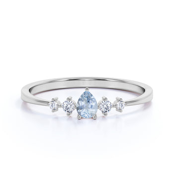 4 Stone Pear Cut Aquamarine and  White Diamond Stacking Ring in White Gold