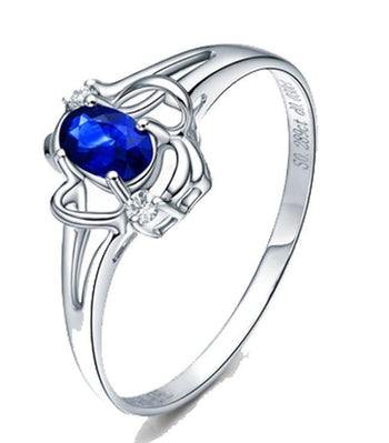 Affordable 1 Carat Oval Cut Blue Sapphire and Diamond Engagement Ring