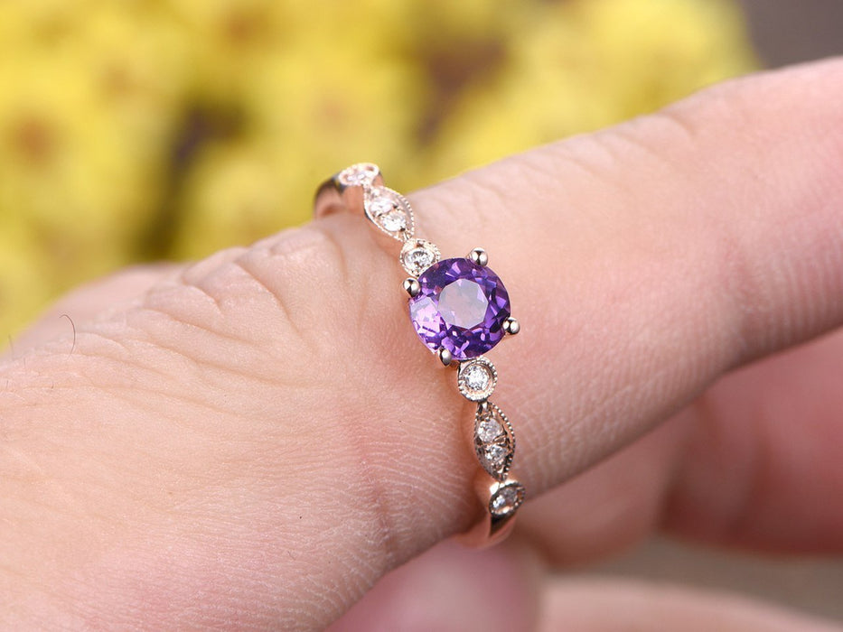 1.25 Carat Round Amethyst and Diamond Milgrain Engagement Ring in Rose Gold