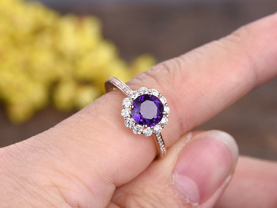 1.50 Carat Round Amethyst Diamond Halo Flower Engagement Ring in Rose Gold