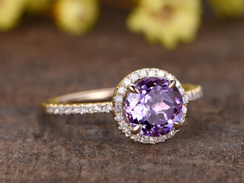 1.25 Carat Round Amethyst and Diamond Promise Engagement Ring in Rose Gold