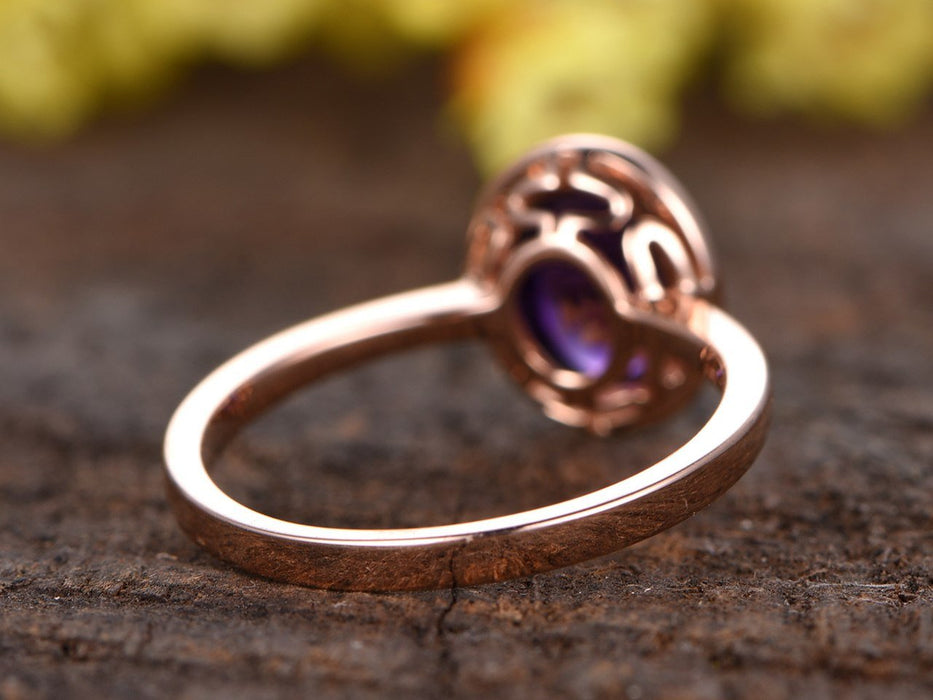 1.50 Carat Oval Cut Amethyst Engagement Ring Solitaire in Rose Gold