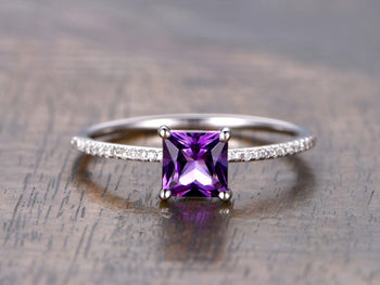 1.25 Carat Princess Purple Amethyst and Diamond Engagement Ring Diamond White Gold
