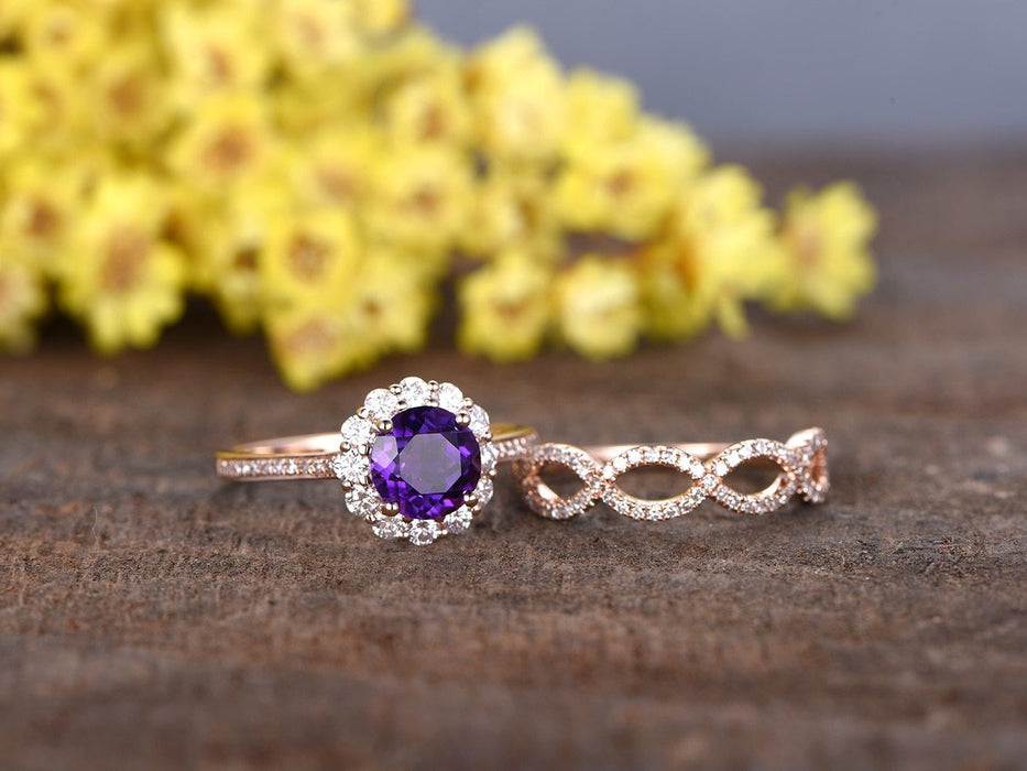 2 Carat Round Amethyst and Diamond Trio Set in Rose Gold Flower Engagement Ring