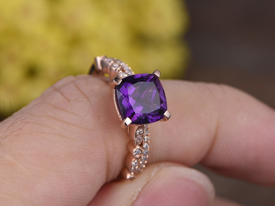 2 Carat Cushion Amethyst and Diamond Antique Half Eternity Stacking Trio Ring Set in Rose Gold