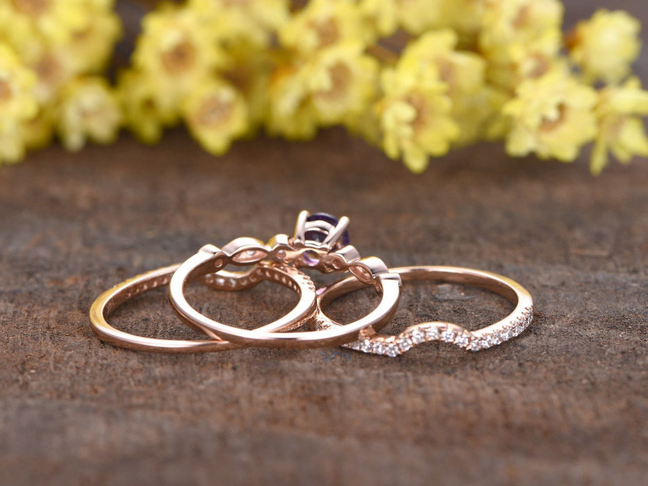 2 Carat Round Amethsyt and Diamond Art Deco Trio Ring Set in Rose Gold