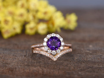 2 Carat Round Amethyst and Diamond Wedding Ring Set Infinity Flower Design for women in Rose Gold