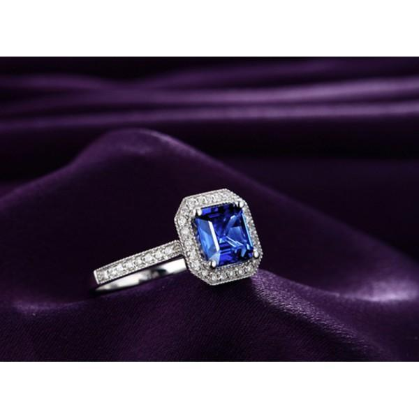 Antique 1 Carat Princess Cut Sapphire and Diamond Engagement Ring
