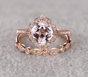 Antique 1.50 Carat Cushion Cut Morganite and Diamond Halo Bridal Set in Rose Gold: Bestselling Design