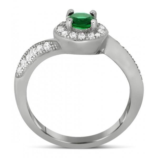 Antique Designer 1 Carat Emerald and Diamond Engagement Ring