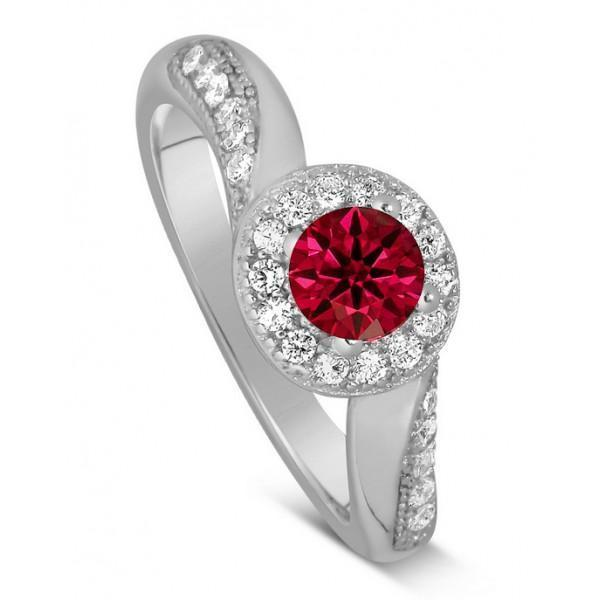 Antique Designer 1 Carat Red Ruby and Diamond Engagement Ring