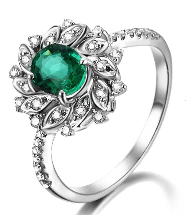 Antique Floral 1.50 Carat Emerald and Diamond Engagement Rin