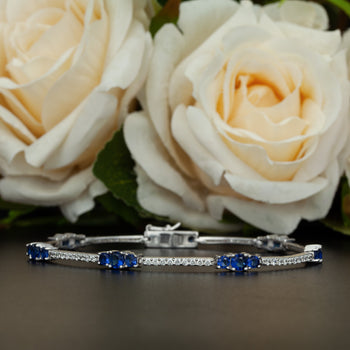 2 Carat Stunning Sapphire Stones and Diamond Bracelet in Silver