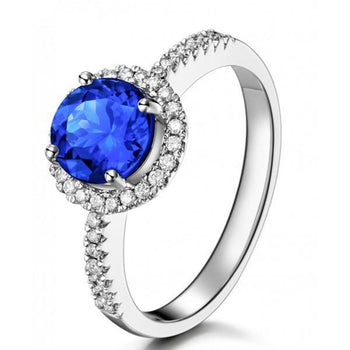 Beautiful 1.25 Carat Round Blue Sapphire and Diamond Halo Engagement Ring