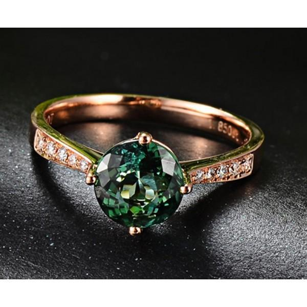 Classic 1 Carat Green Emerald and Diamond Rose Gold Engagement Ring