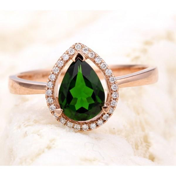 Designer 1.50 Carat Pear shape Emerald and Diamond Halo Engagement Ring