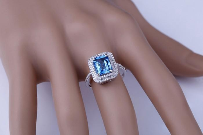 Designer 2 Carat Emerald Cut Sapphire and Diamond Double Halo Engagement Ring