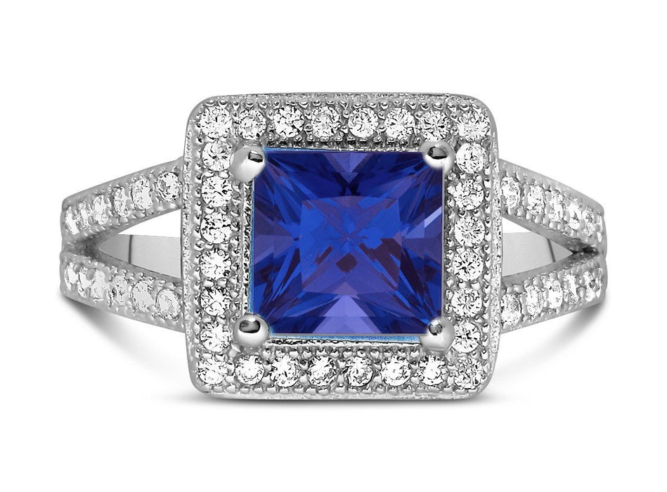 Designer 2 Carat Princess Cut Blue Sapphire and Diamond Halo Engagement Ring
