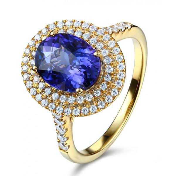 Designer 3 Carat Double Halo Sapphire and Diamond Engagement Ring